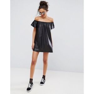ASOS faux leather off the shoulder dress